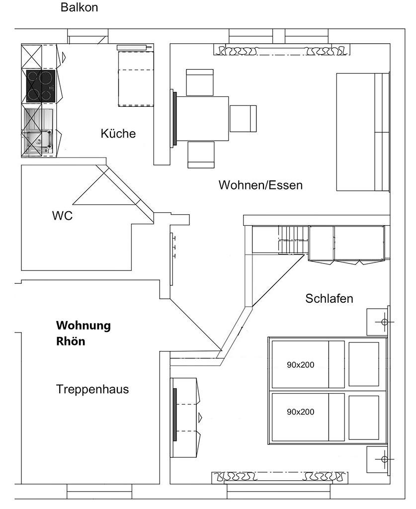 Grundriss Ferienwohnung Rhön