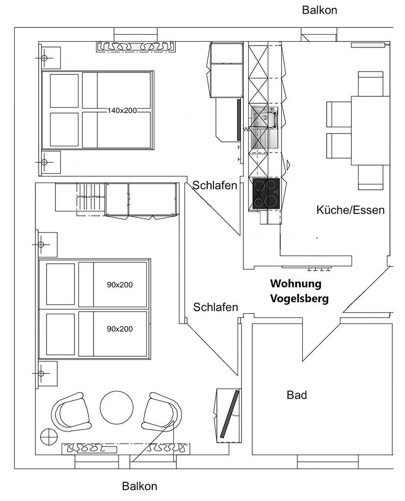 Grundriss Ferienwohnung Vogelsberg